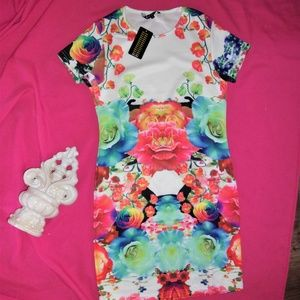 floral medium NEW dress bright oriental party med